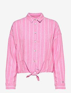 TJW RELAXED FRONT KNOT SHIRT - långärmade skjortor - pink daisy / stripe