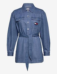 TJW BOYFRIEND BELTED OVERSHIRT - kläder - mid indigo