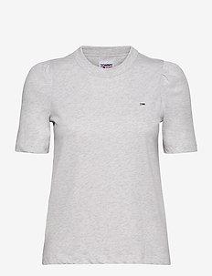 TJW SLIM RUFFLED TEE - t-shirts - silver grey htr