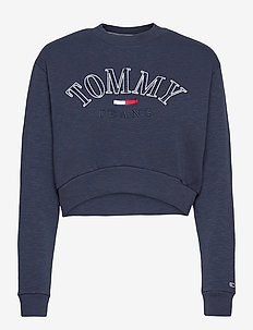 TJW CROP COLLEGE LOGO SWEATSHIRT - sweatshirts & hoodies - twilight navy