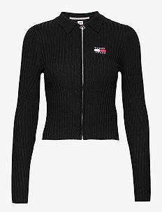 TJW ZIP THROUGH SWEATER - navel shirts - black