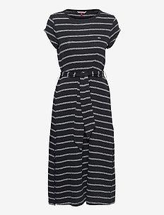 TJW BELTED STRIPE DRESS - sommarklänningar - black / multi