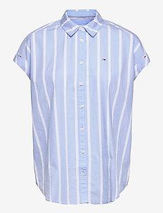TJW RELAXED STRIPE SHIRT SS - kortärmade skjortor - moderate blue / stripe