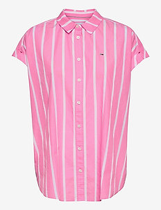 TJW RELAXED STRIPE SHIRT SS - kortärmade skjortor - pink daisy / white
