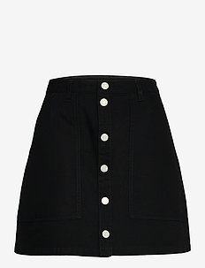 TJW BADGE BUTTON THROUGH SKIRT - midi kjolar - black