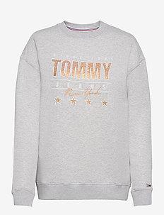 TJW METALLIC TOMMY SWEATSHIRT - sweatshirts & hoodies - silver grey htr