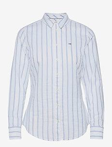 TJW SLIM OXFORD STRIPE SHIRT - långärmade toppar - moderate blue / white