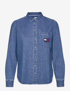 TJW REGULAR CHAMBRAY BADGE SHIRT - jeansowe koszule - mid indigo