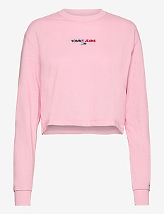 TJW LINEAR LOGO LONGSLEEVE - crop tops - romantic pink