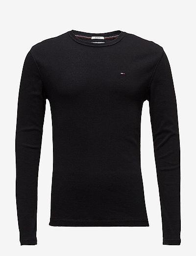 TJM ORIGINAL RIB LONGSLEEVE TEE - basic t-shirts - tommy black