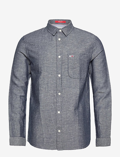 TJM LINEN BLEND SHIRT - rutiga skjortor - twilight navy
