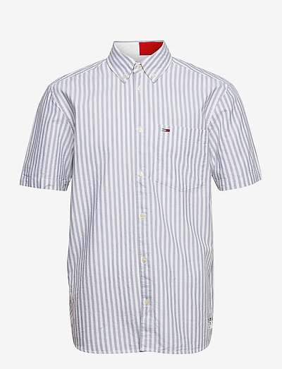 TJM STRIPED SHORTSLEEVE SHIRT - rutiga skjortor - cinder blue / white
