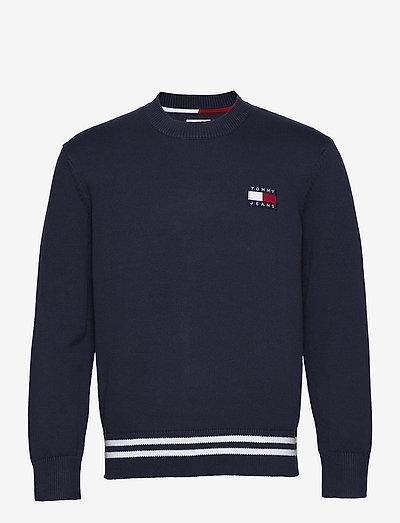 TJM BADGE TEXTURED SWEATER - knitted round necks - twilight navy / silver grey htr