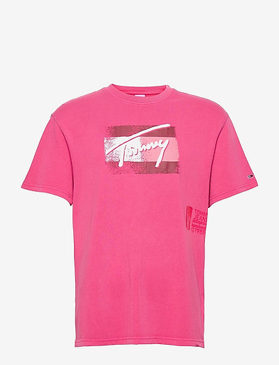 TJM FADED FLAG SCRIPT TEE - korte mouwen - bright cerise pink