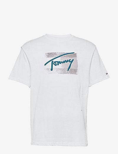 TJM FADED FLAG SCRIPT TEE - t-shirts à manches courtes - white