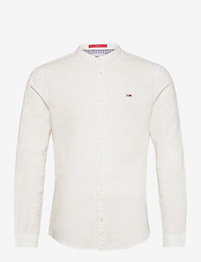 TJM MAO LINEN BLEND SHIRT - checkered shirts - white