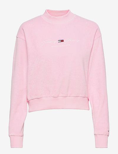 TJW PASTEL VELOUR CREW - sweatshirts & hoodies - romantic pink