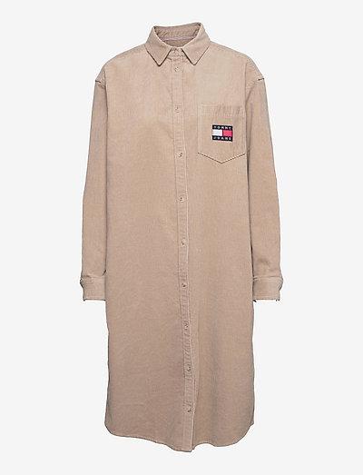 TJW CORDUROY SHIRTDRESS - skjortklänningar - soft beige