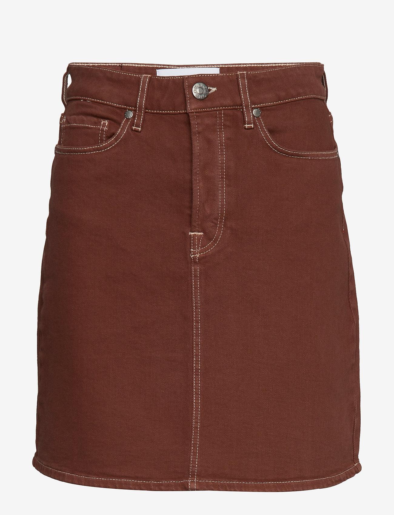 Tomorrow - Mandela denim skirt color - kurze röcke - coffee brown - 0