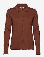 Tomorrow - Nelson jersey shirt - langärmlige hemden - brown - 0