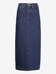 Mandela maxi skirt wash dark Oxford - denimnederdele - denim blue