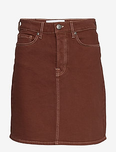 Mandela denim skirt color - kurze röcke - coffee brown