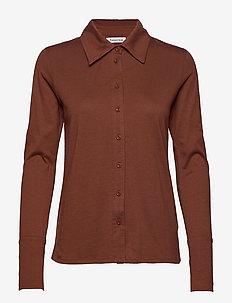 Nelson jersey shirt - koszule z długimi rękawami - brown
