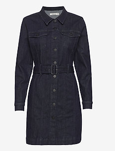 Dylan Denim Dress Raw Indigo - alltagskleider - denim blue