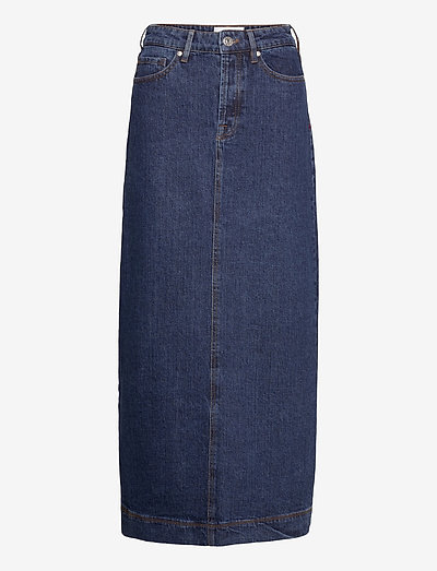 Mandela maxi skirt wash dark Oxford - denimskjørt - denim blue
