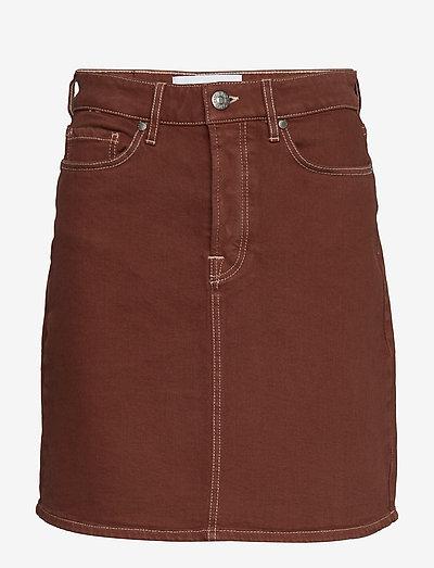 Mandela denim skirt color - korte nederdele - coffee brown