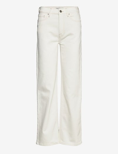 Brown straight jeans ecru - brede jeans - ecru