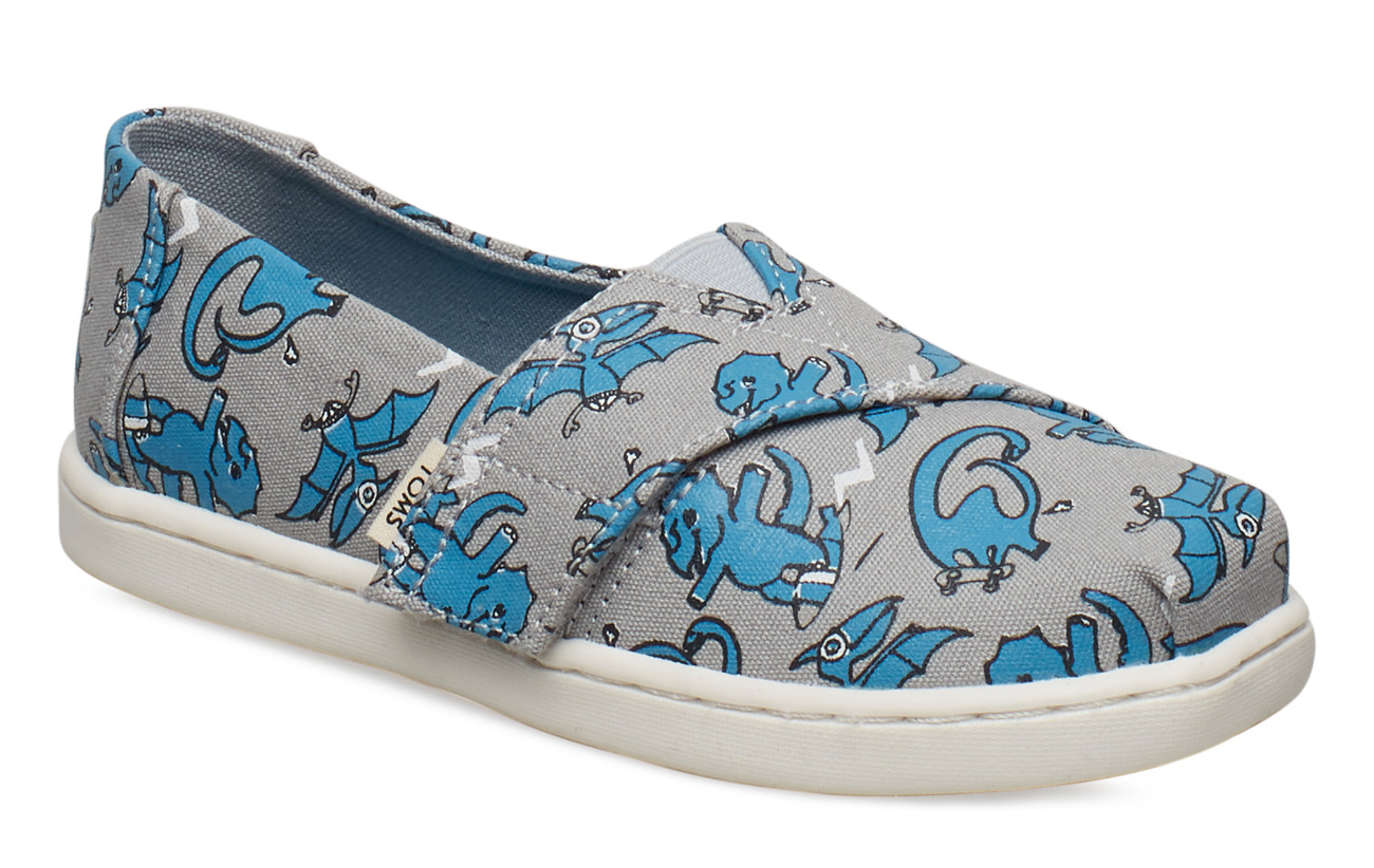 TOMS Dino Glow In The Dark Print Alpargata - GREY/BLUE
