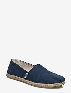 Navy Washed Canvas - flade espadrillos - navy washed canvas rope s