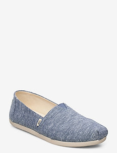 Blue Slub Chambray - slip-on sneakers - blue