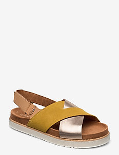 Amber Gold Suede/Metallic Leather - AMBER GOLD