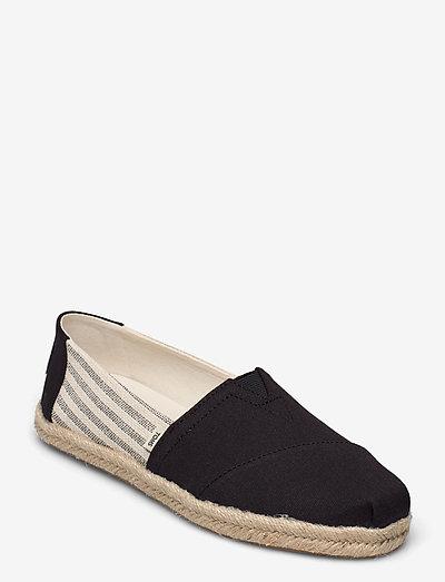 Black University Stripes - platta espadriller - black