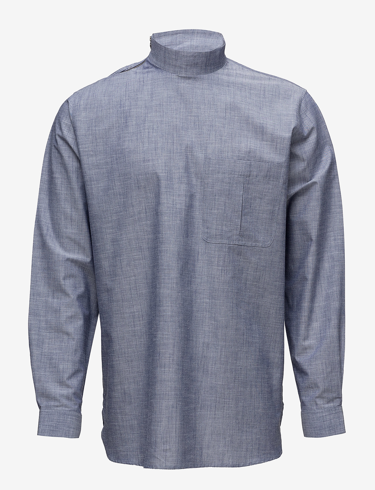 Tonsure - Collar stand shirt with zipper detail - chemises business - chambray