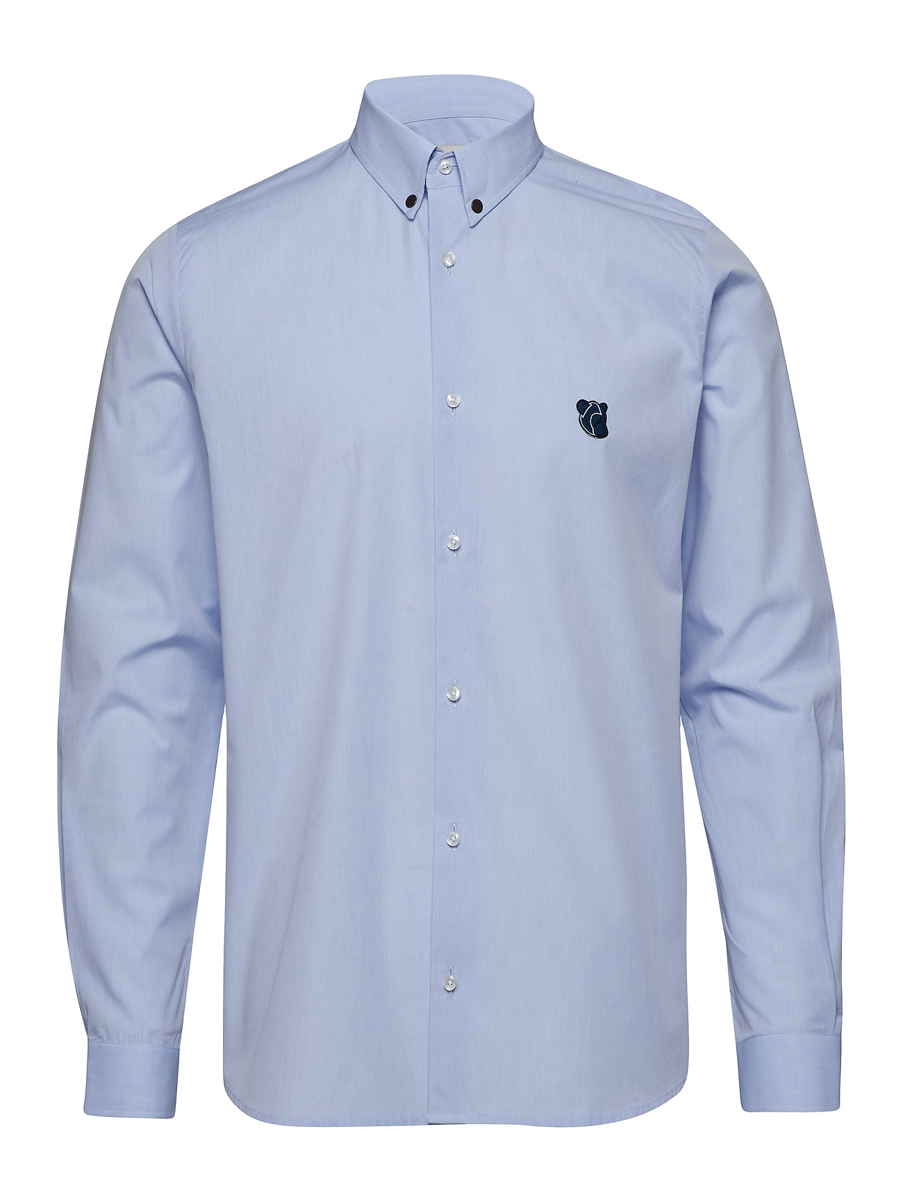 Tonsure Regular shirt with embroidered logo - LIGHT BLUE