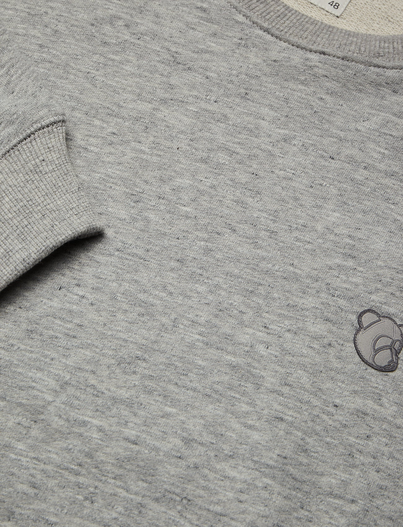 Tonsure Crewneck Sweatshirt W. Teddy Logo. - Sweatshirts Grey Melange