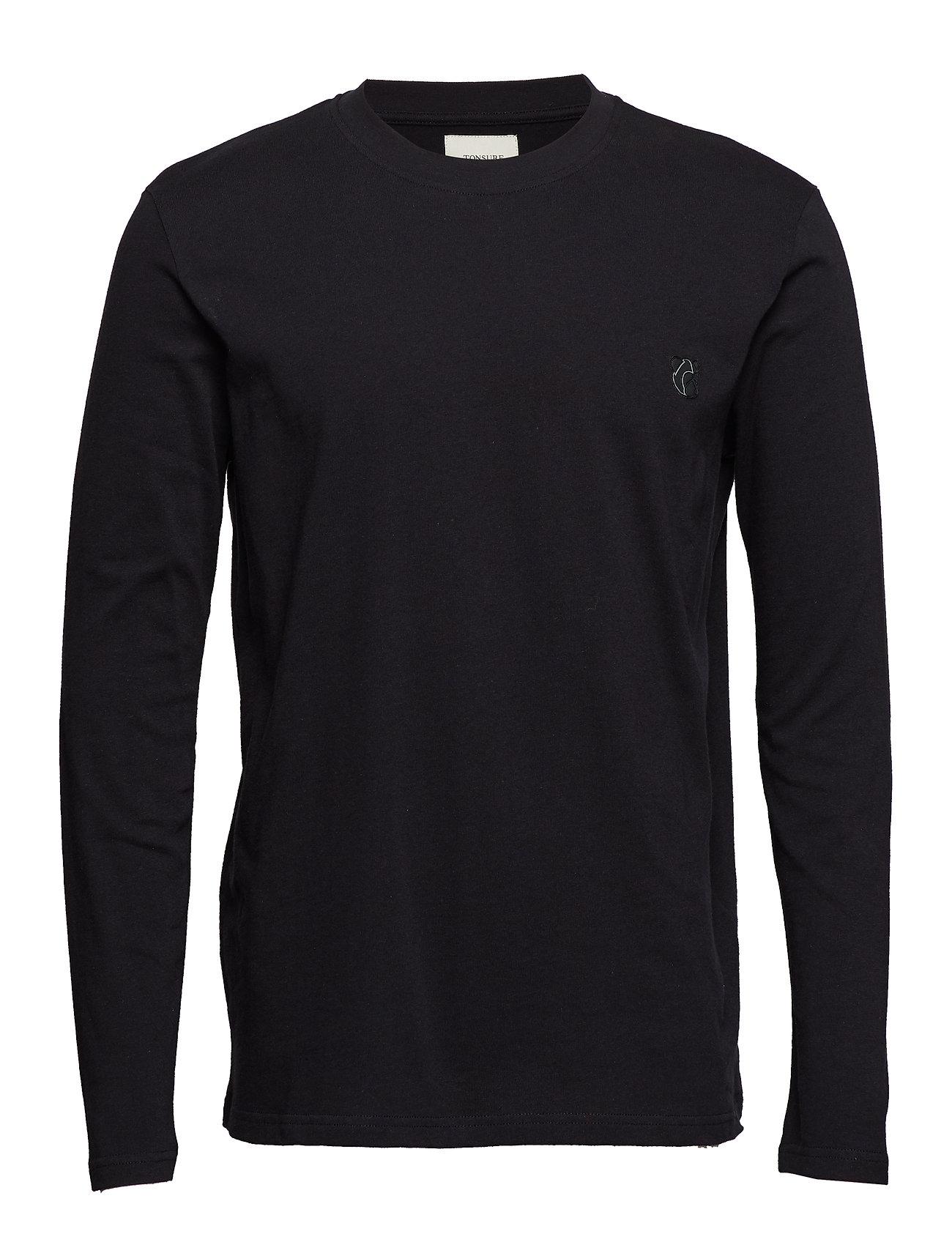 Tonsure Long sleeve jersey tee - BLACK