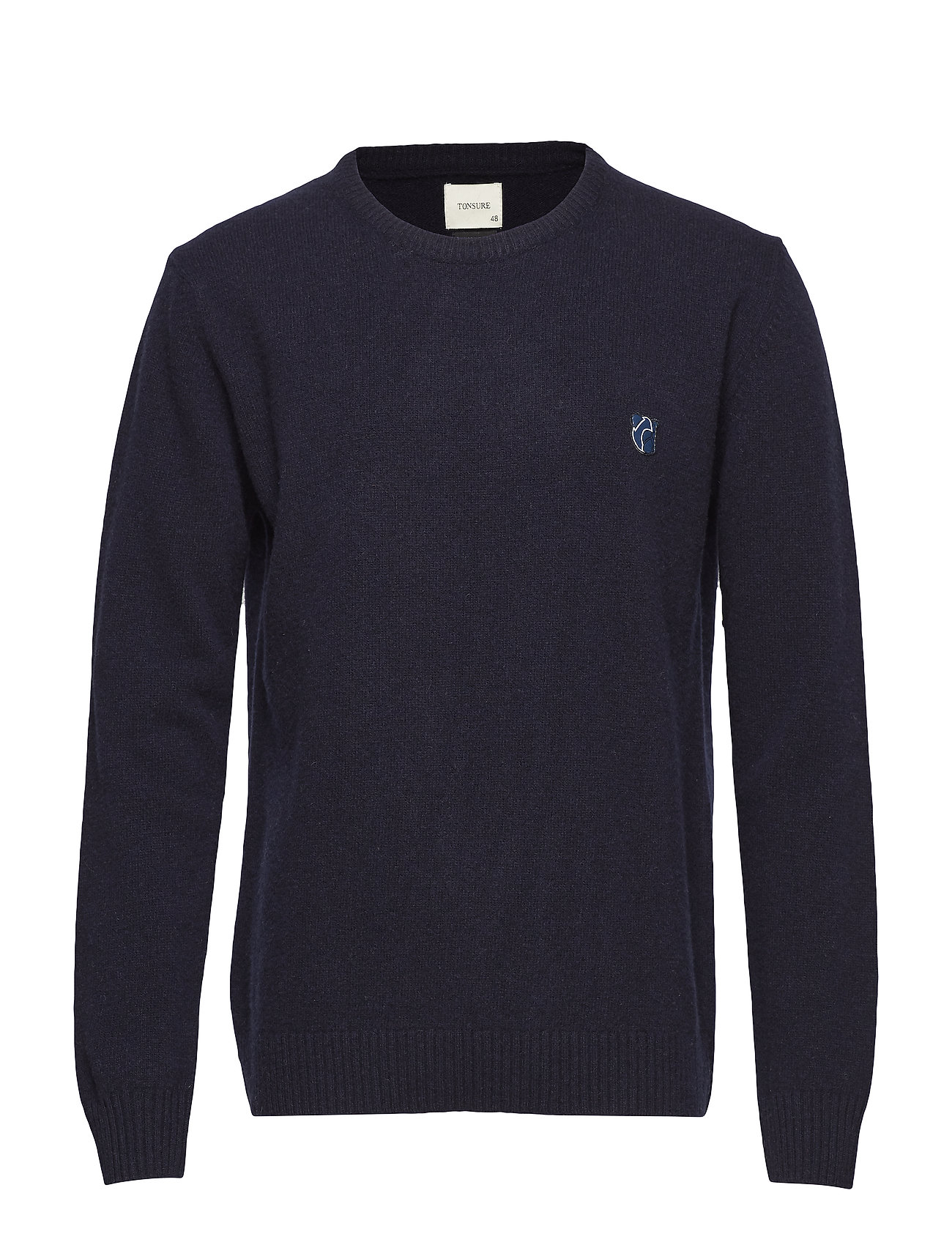 Tonsure ROLL NECK IN WASHED LAMBSWOOL WITH TEDDY LOGO. - NAVY