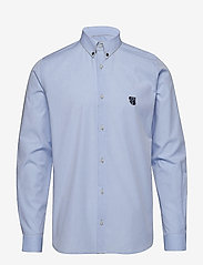Tonsure - Regular shirt with embroidered logo - business shirts - light blue - 0