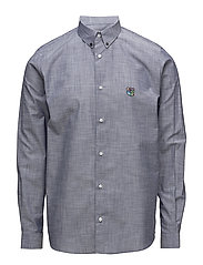 Regular shirt with embroidered logo - CHAMBRAY