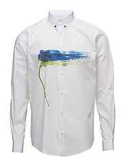 Regular shirt with placement print - WHITE WITH FLOWER PRINT
