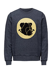 Crewneck with chenille teddy head on print - DARK BLUE