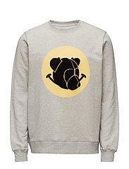 Crewneck with chenille teddy head on print - GREY MELANGE