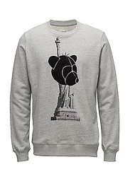 CREWNECK SWEATSHIRT WITH CHENILLE TEDDY ON STATUE OF LIBERTY - GREY MELANGE