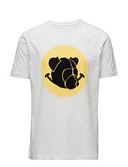 Tee with chenille teddy head on print - WHITE
