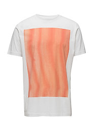 Tee with placement orange stripe print - WHITE