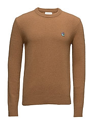 Regular fit sweater with embroidered logo - CAMEL